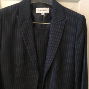 Calvin Klein black pinstriped skirt suit